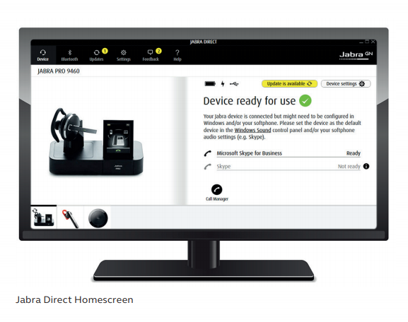 Jabra Direct homescreen